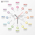 Infographic. Business Clock. Colorful Circle With Icons. Vector Royalty Free Stock Photography - 73392217