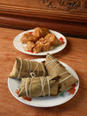 Zongzi Wrapped In Bamboo Leaf And Ready To Eat Stock Images - 73398134