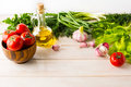 Healthy Eating Concept With Ripe Vegetables And Olive Oil Stock Photography - 73401132
