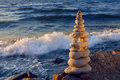 Concept Of Harmony And Balance. Rock Zen At Sunset. Balance And Poise Stones Against The Sea. Stock Photography - 73403012