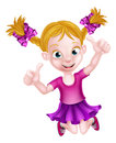 Happy Cartoon Girl Jumping Royalty Free Stock Image - 73405216