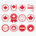 Red Canada Flag Emblems, Stamps And Design Elements Set Stock Photo - 73415410