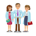 Medical Team. Three Doctors With Stethoscopes, Man And Women S. Stock Image - 73415711