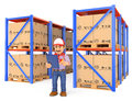 3D Storekeeper Checking Pallets In The Warehouse Royalty Free Stock Image - 73417666
