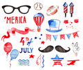 Watercolor Collection Of Fourth Of July Items Stock Images - 73422924