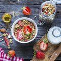 Ready-made Granola With Dried Strawberries And Almonds. Healthy Breakfast  Cereal Muesli,   Fresh Stock Photography - 73424332