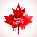 Happy Canada Day Watercolor Background. Holiday Poster With Red Canada Maple Leaf. Stock Photos - 73426023