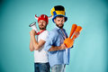 The Two Football Fans With Mouthpiece Over Blue Stock Image - 73427901