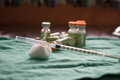 Insulin Syringe And Vials For Injection, With White Mortar. On A Stock Photo - 73441910