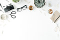 Feminine Desk Workspace With Succulent, Retro Camera, Scissors, Diary, Glasses And Golden Clips Royalty Free Stock Photo - 73453545
