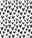 Vector Seamless Pattern With Hand Drawn Doodle Black Small Hearts. Stock Images - 73475454