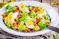 Potato Salad With Eggs, Lettuce,  Tomatoes And Bacon Royalty Free Stock Image - 73490416