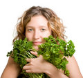 Young Woman With Fresh Parsley Royalty Free Stock Images - 7353399