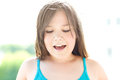 Cute Girl Is Holding Her Face In Astonishment Royalty Free Stock Image - 73501666
