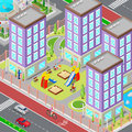 Isometric City Sleeping Dormitory Area. Modern Yard With Houses And Playground. Vector Royalty Free Stock Photo - 73503605