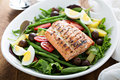 Grilled Salmon Nicoise Salad Royalty Free Stock Image - 73504056