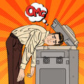 Businessman Stressed In Office. Stress At Work. Pop Art Stock Photography - 73504412