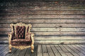 Empty Vintage Chair In Grunge Old Wooden Room Royalty Free Stock Photography - 73520637