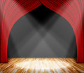 Lighting On Stage. Red Curtain And Wooden Floor Interior Background. Royalty Free Stock Images - 73528279