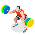 Weightlifting Summer Games Icon Set.3D Isometric Weightlifter Athlete.Olympics Sporting Championship International Competition Royalty Free Stock Images - 73533239