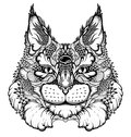 Cat / Lynx Head Tattoo. Psychedelic / Zentangle Style Stock Photos - 73539853