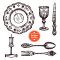 Antique Cutlery Set Stock Photography - 73546582