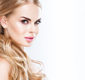 Beautiful Blonde Woman Face Close Up Portrait Studio On White Royalty Free Stock Image - 73553456