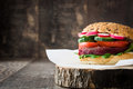 Veggie Beet Burger On A Rustic Wood Stock Photo - 73556420