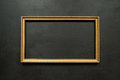 Horizontal Gold Thin Picture Frame On Black Royalty Free Stock Image - 73565466