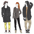 Fashion Man And Woman Sketch Illustration. Fashionable Young Street Guy And Girl. Stock Photo - 73575470
