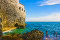 Wall Of Old Town Of Budva, Montenegro, Adriatic Sea. Stock Image - 73575861