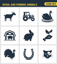 Icons Set Premium Quality Of Rural And Farming Animals Agricultural Nature Industry. Modern Pictogram Collection Flat Design Style Royalty Free Stock Image - 73578296