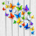 White Wooden Background With Multicolored Butterflies Royalty Free Stock Photography - 73578517