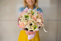 Girl Holding A Bouquet Of White Flowers Stock Photography - 73580742