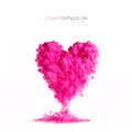 Ink Cloud Pink Heart-shaped On White. Color Explosion Stock Photos - 73585033
