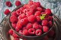 Fresh  Raspberries In Vintage Basket, Vitamins, Healthy Food, Ve Royalty Free Stock Photo - 73625015