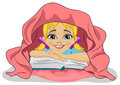 Little Cute Girl Reading A Book In Bed Under Blanket Stock Photos - 73632913