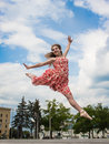 Dancer In A Chiffon Dress And Pointe Stock Image - 73639381