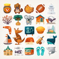 Stickers With Sights And Famous Elements Of Australian Continent Royalty Free Stock Photo - 73639615