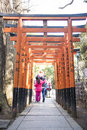 UENO, JAPAN - FEBRUARY 19, 2016 : Torii Doors Tunnel Gate To Goj Royalty Free Stock Image - 73639886