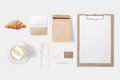 Design Concept Of Mockup Paper, Bag, Clipboard And Coffee Cup Se Stock Images - 73642064