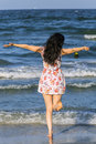 Happy Tourist Woman Feeling Happy At The Sea Stock Photos - 73658713