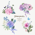 Set Of Vintage Bouquet Blooming Hydrangea Royalty Free Stock Photos - 73697538