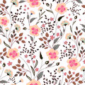 Cute Little Pink Flowers Seamless Pattern Background. Vector Stock Photo - 73701090