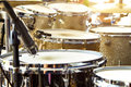 Acoustic Drum Set On Stage Before The Concert Royalty Free Stock Image - 73706906