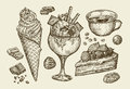 Food, Dessert, Drink. Hand Drawn Ice Cream, Sundae, Cup Of Coffee, Tea, Cake, Pie, Chocolate, Candy. Sketch Vector Stock Images - 73723014