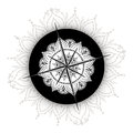 Graphic Wind Rose Compass Drawn With Floral Elements Stock Image - 73735611