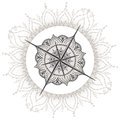 Graphic Wind Rose Compass Drawn With Floral Elements Royalty Free Stock Photo - 73736065
