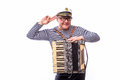 Sailor Showman Singer With Musical Instruments Drum And Accordion Royalty Free Stock Photography - 73741257