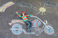 Little Kid Boy In Helmet With Motorcycle Chalks Picture Stock Photos - 73745293
